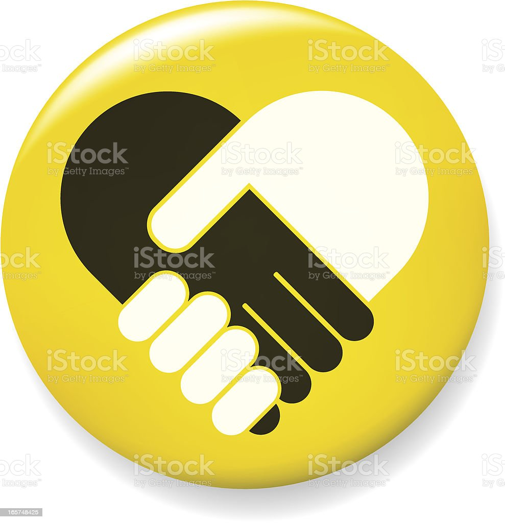 Hand shake pin vector art illustration