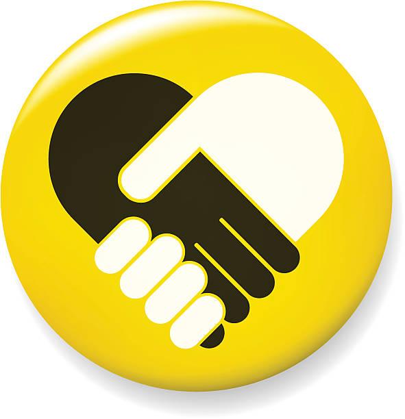 Hand shake pin vector art illustration