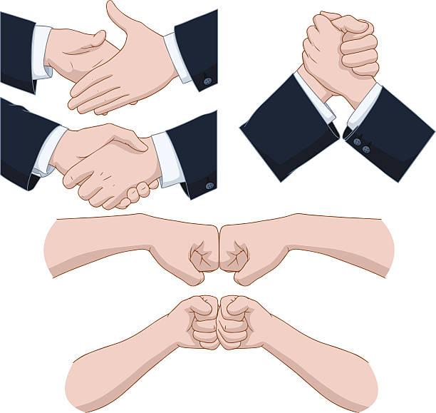 Hand Shakes Pack vector art illustration