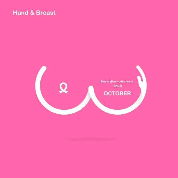 Hand shape & Breast icon.Breast Cancer October Awareness Month Campaign banner.Women health concept.Breast cancer awareness month design.Realistic pink ribbon.Pink care.Vector illustration Hand shape & Breast icon.Breast Cancer October Awareness Month Campaign banner.Women health concept.Breast cancer awareness month design.Realistic pink ribbon.Pink care.Vector illustration breast stock illustrations