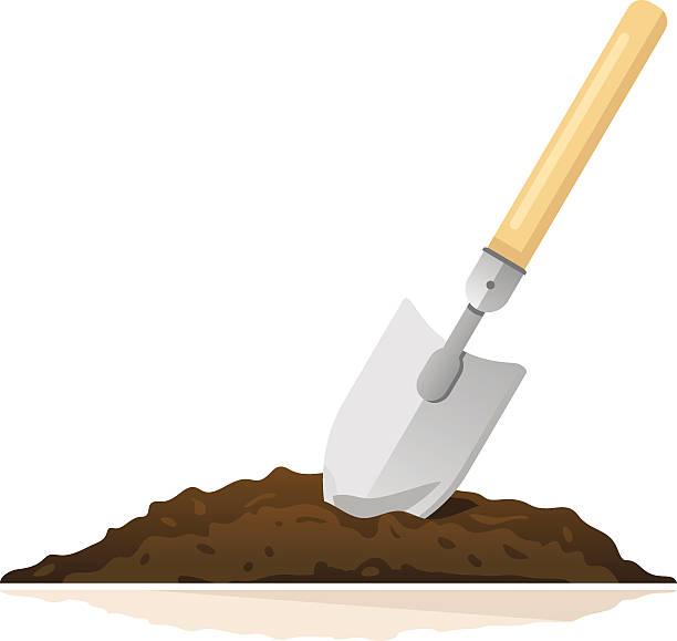 stockillustraties, clipart, cartoons en iconen met hand shovel in ground - shovel