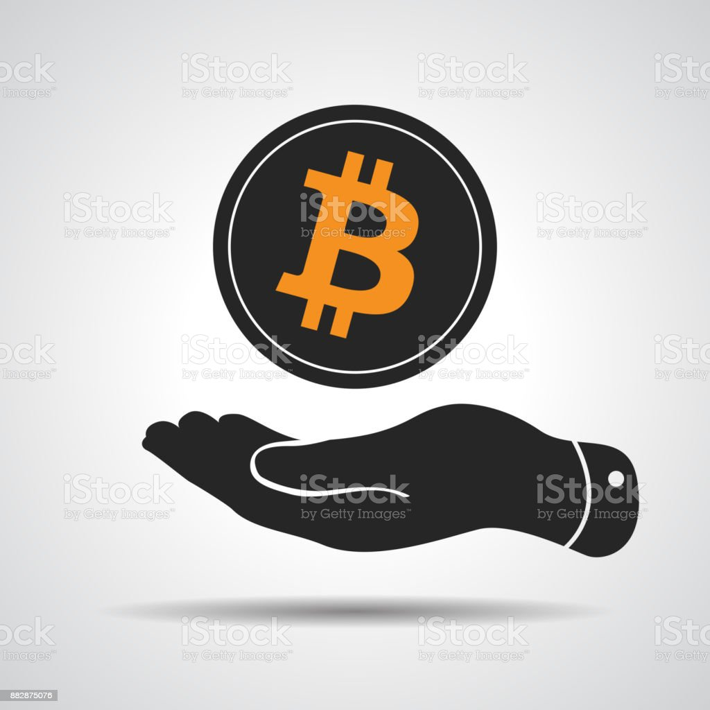 hand showing bitcoin symbol isolated on a grey background vector art illustration