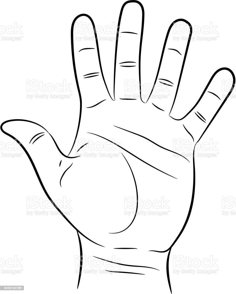 hand showing five fingers on white background of vector illustrations vector art illustration