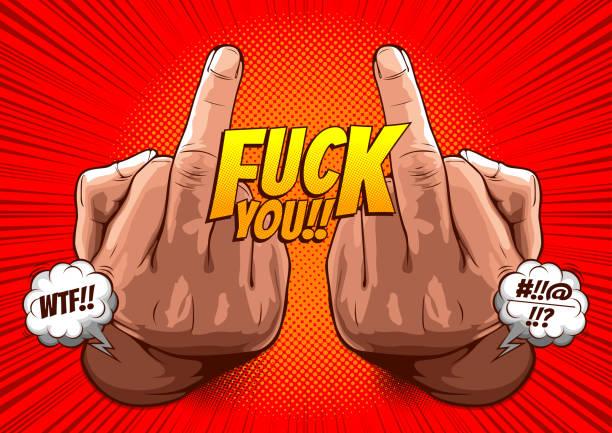 ilustraciones, imágenes clip art, dibujos animados e iconos de stock de mano mostrando follar te con el dedo medio 62 - middle finger