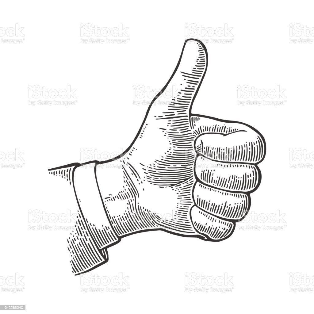 Hand showing symbol Like. Making thumb up gesture. vector art illustration