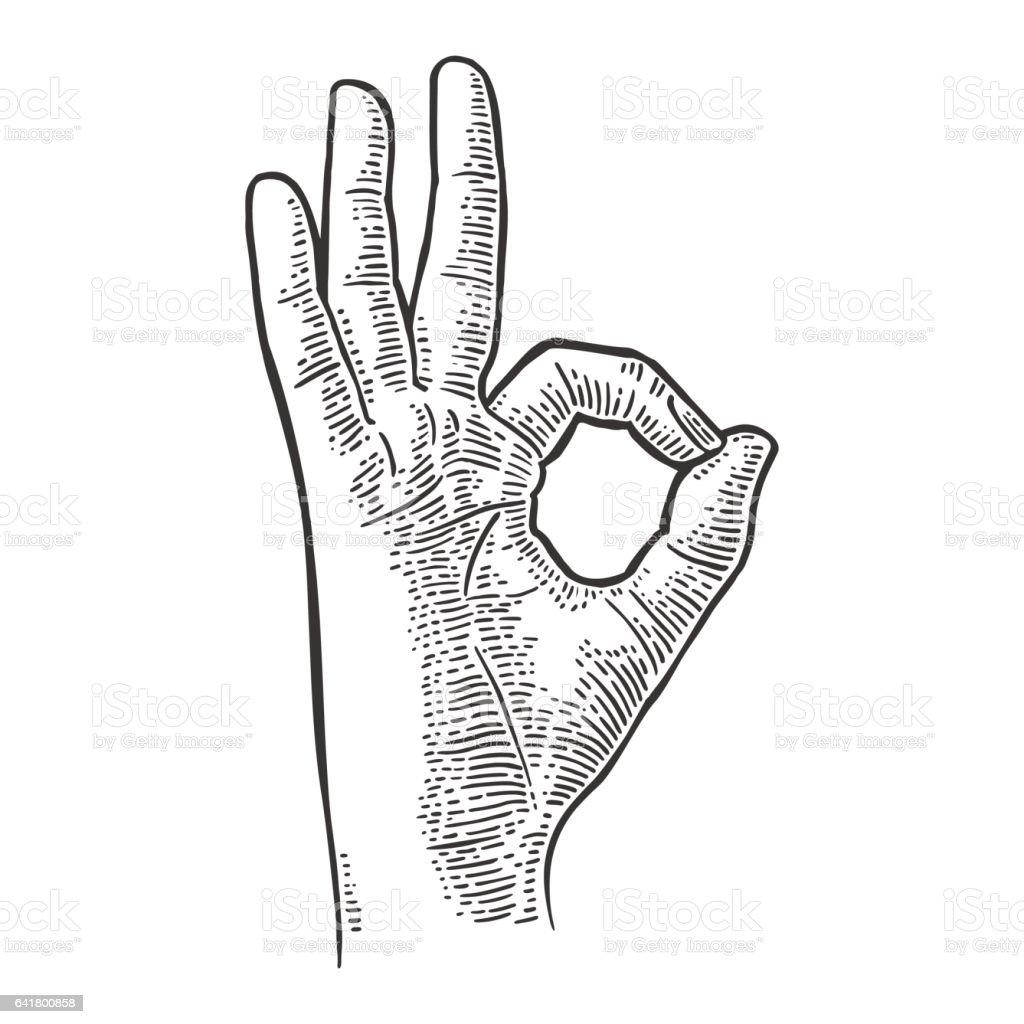 Hand showing symbol okay. Vector black vintage engraved vector art illustration
