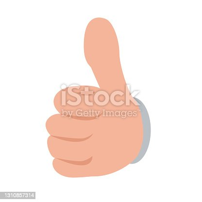 istock Hand showing thumbs up button from front view. Flat and solid color vector illustration. 1310857314