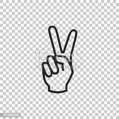Hand showing two finger icon isolated on transparent background. Victory hand sign. Flat design. Vector Illustration