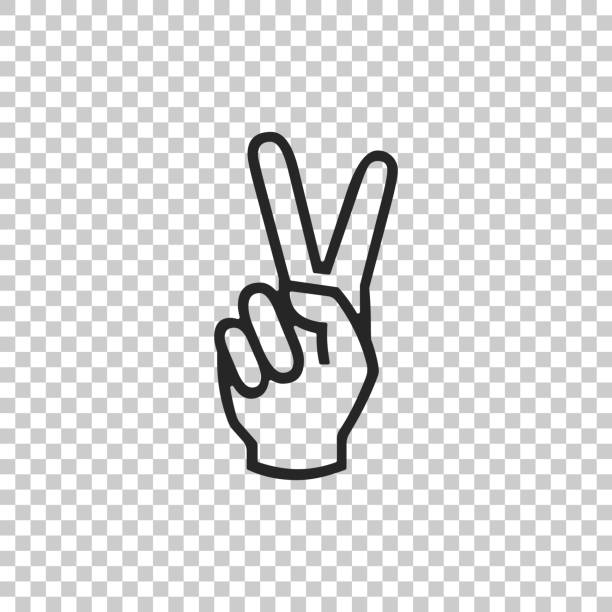 Hand showing two finger icon isolated on transparent background. Victory hand sign. Flat design. Vector Illustration Hand showing two finger icon isolated on transparent background. Victory hand sign. Flat design. Vector Illustration symbols of peace stock illustrations