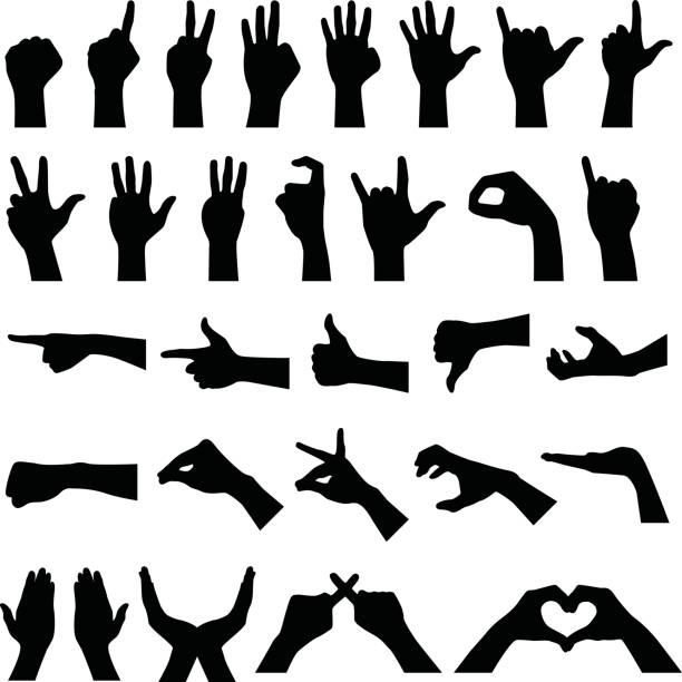 stockillustraties, clipart, cartoons en iconen met hand teken gebaar silhouetten - wijzen handgebaar