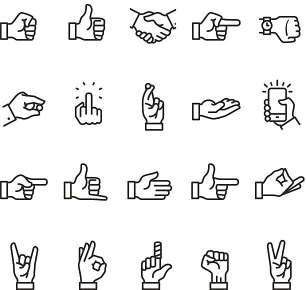 stockillustraties, clipart, cartoons en iconen met hand sign icon - swearing