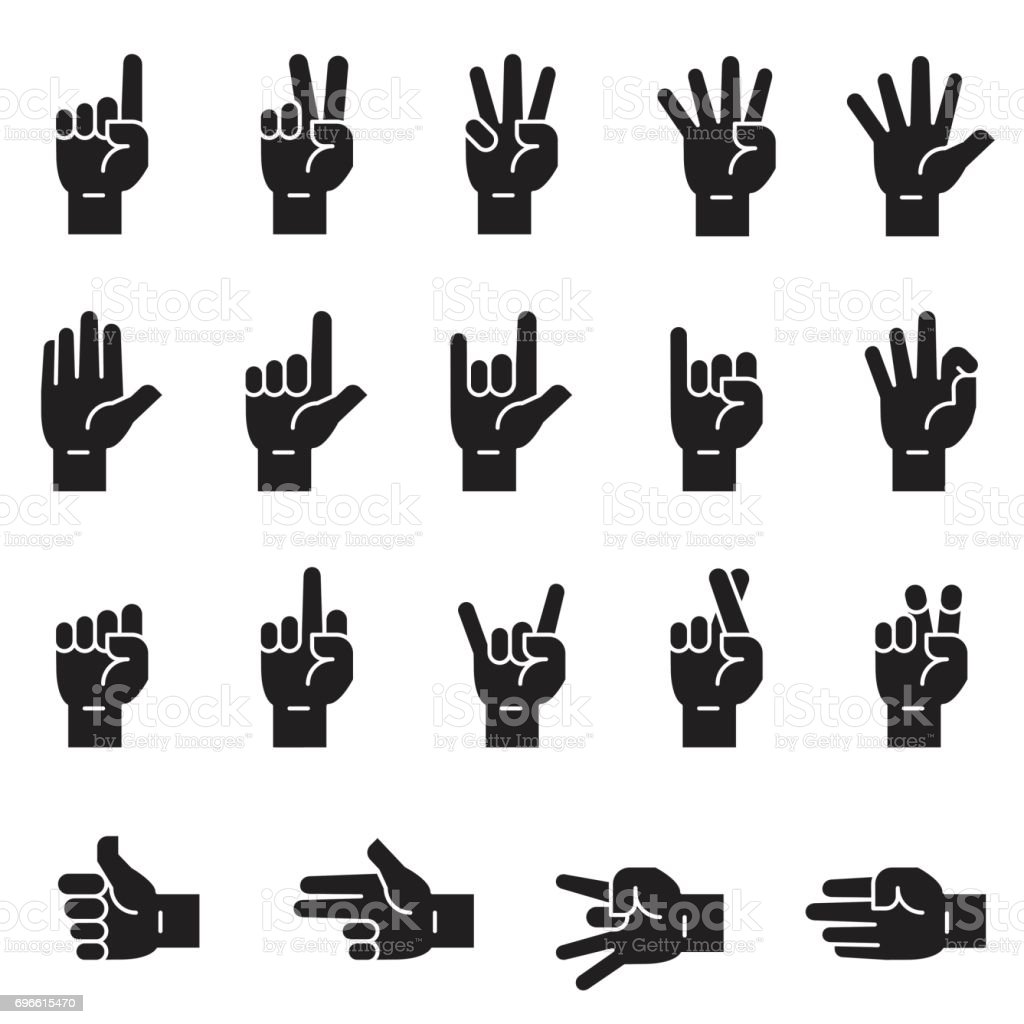 Hand Sign Icons [Black Edition] vector art illustration