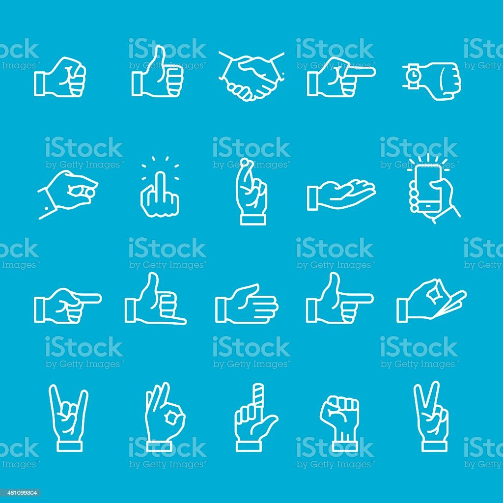 Hand Sign icons collection vector art illustration