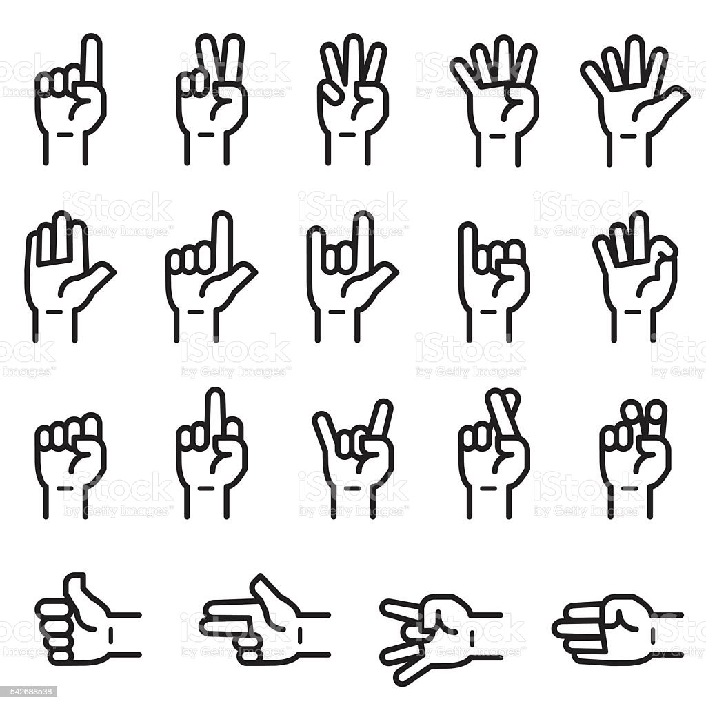 Hand Sign Icons vector art illustration