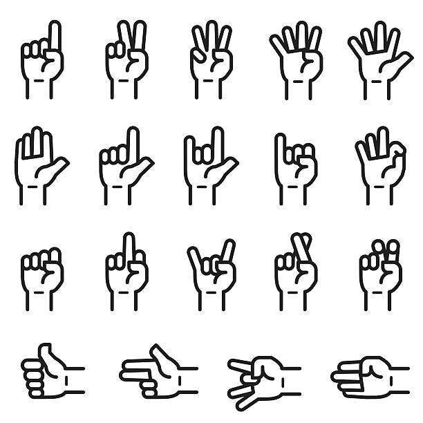 Hand Sign Icons Hand Sign Icons counting stock illustrations