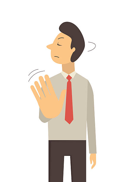 Hand sign no Business man wave hand making no sign or stop sign, business concept in saying no, stop, or disagreement. rejection stock illustrations