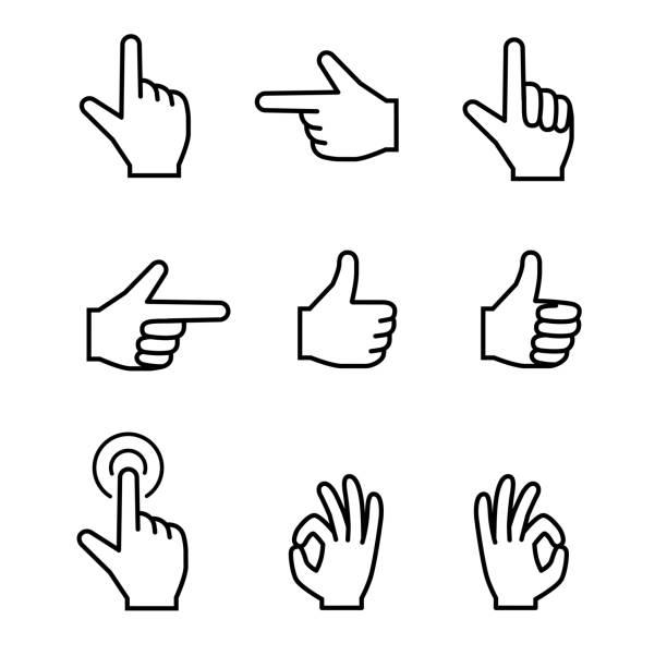 hand sign set hand sign set human finger stock illustrations