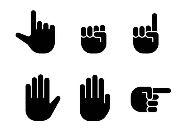 hand sign set hand sign set pointing stock illustrations
