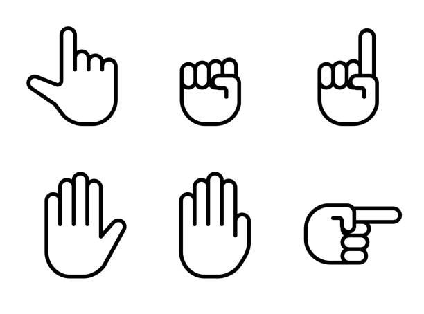 stockillustraties, clipart, cartoons en iconen met hand teken reeks - menselijke hand