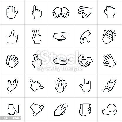 Common hand signals and gestures. The gestures are commonly used for non-verbal communication and include pointing, stopping, holding, grabbing, thumbs up, peace sign, clapping, high-five and grasping to name a few.