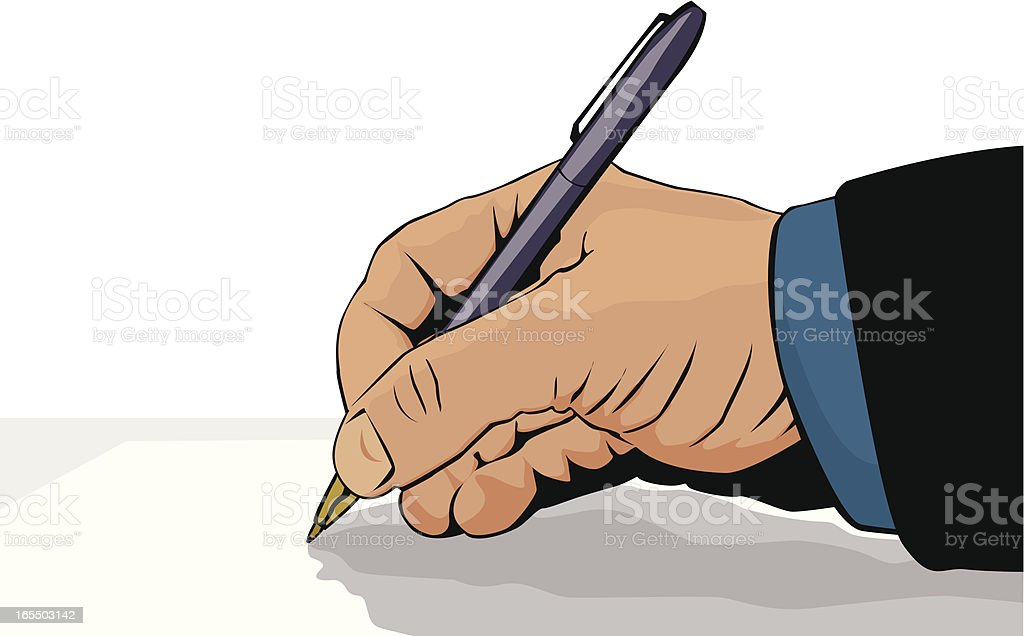 Hand signing a document royalty-free stock vector art