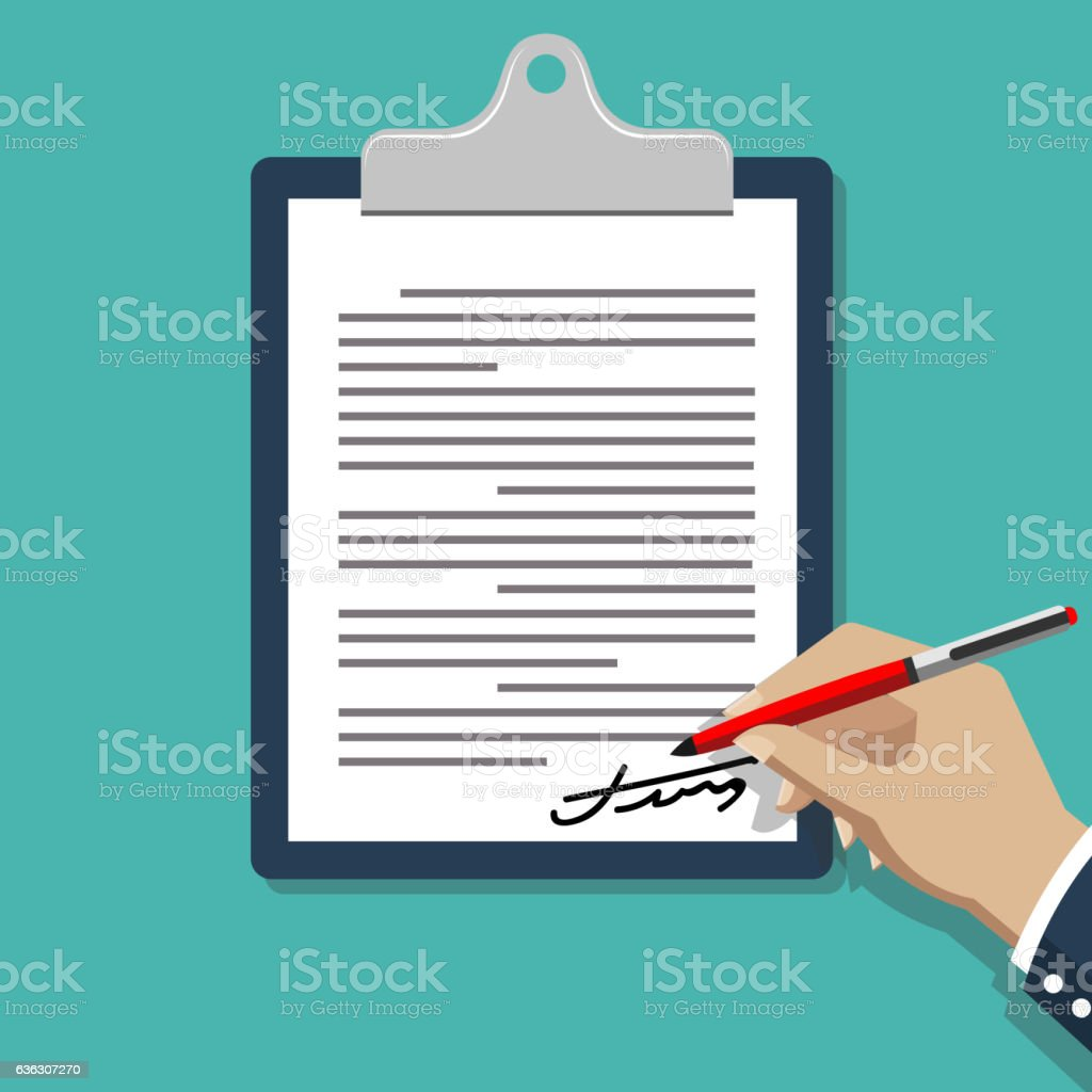 Hand signing document vector art illustration
