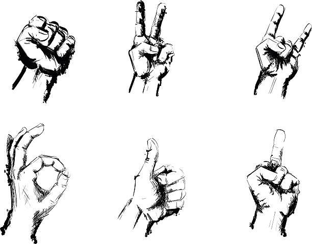 ilustraciones, imágenes clip art, dibujos animados e iconos de stock de señales de gestos de la mano en blanco y negro lápiz de dibujo - middle finger
