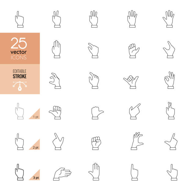 Hand Signs Icon. Pixel Perfect vector art illustration