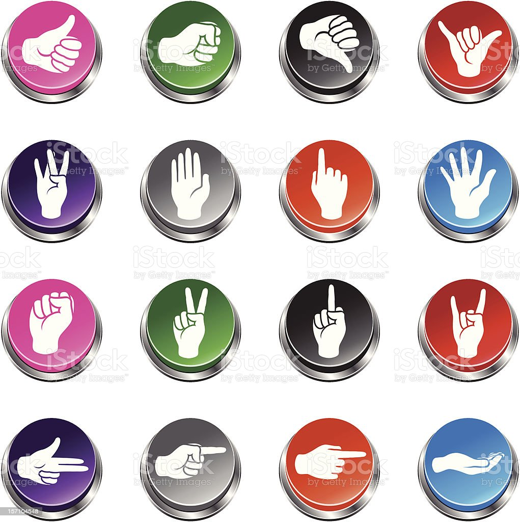 Hand Signs Icons - 3D Push Button Series royalty-free stock vector art