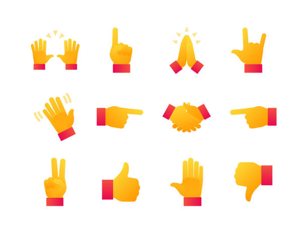 hand signs - modern flat design style icons set - kciuk stock illustrations