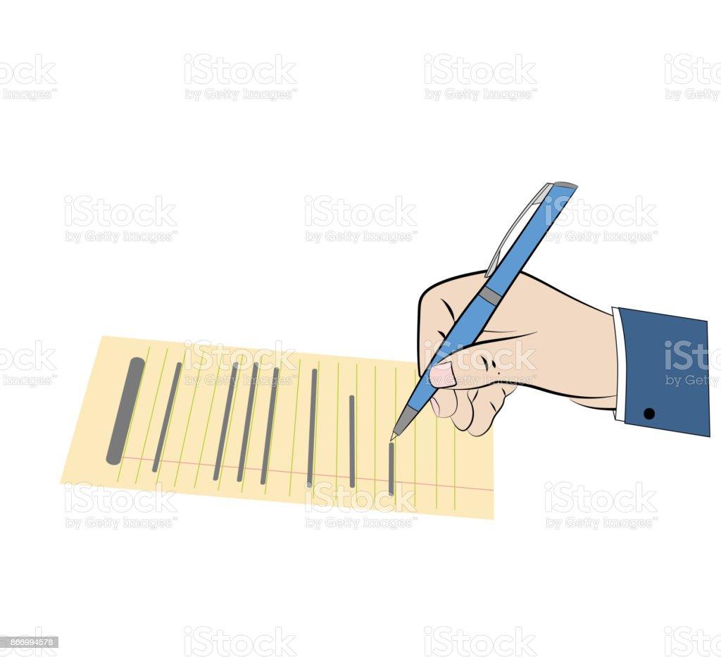 A hand signs the document circulation or legal registration. vector illustration. vector art illustration