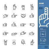 """20 vector and perfect pixel """"stroke style"""" icons set representing an Hand signs and Gesturing theme."""