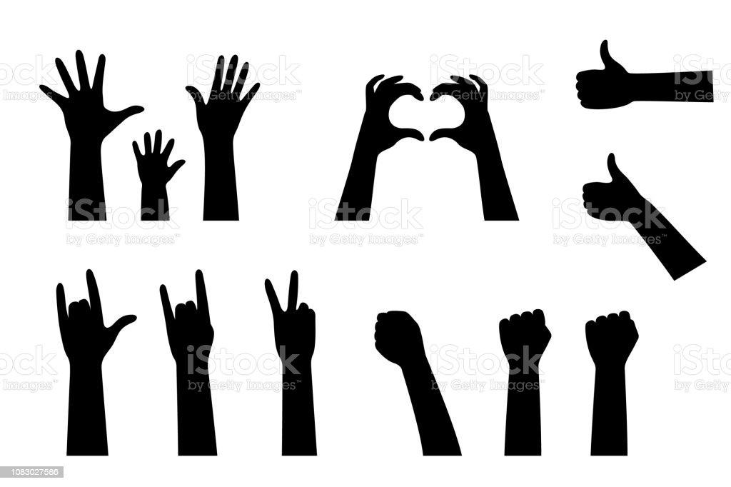 Hand silhouetten collectie - Royalty-free Arm - lichaamsdeel vectorkunst