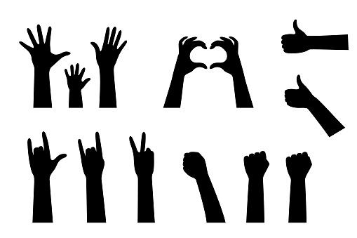 Hand Silhouetten Collectie Stockvectorkunst en meer beelden van Arm - lichaamsdeel