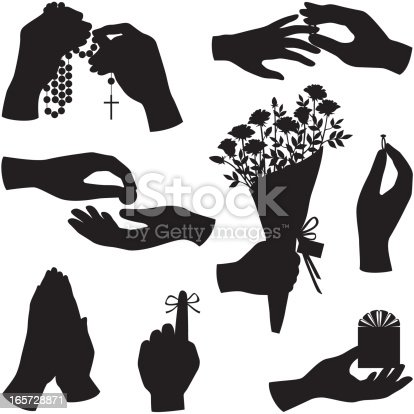 Vector hand silhouettes including hand holding rosary, hands praying, hands giving and receiving a coin, hand holding a bouquet of flowers, hand holding up a ring, hand with a gift, hand with a finger tied with string to remember something, and one hand placing a ring on the finger of another hand.