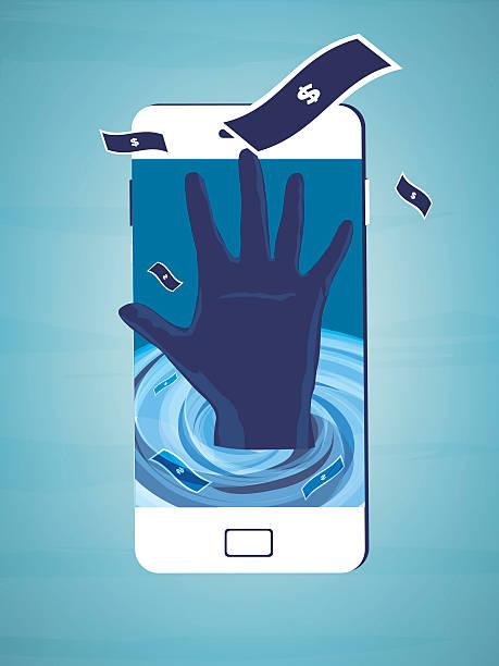 stockillustraties, clipart, cartoons en iconen met hand sinking in a whirlpool - call center