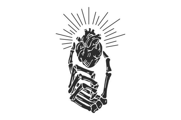 ilustrações de stock, clip art, desenhos animados e ícones de hand skeleton with torn heart - tatuagem