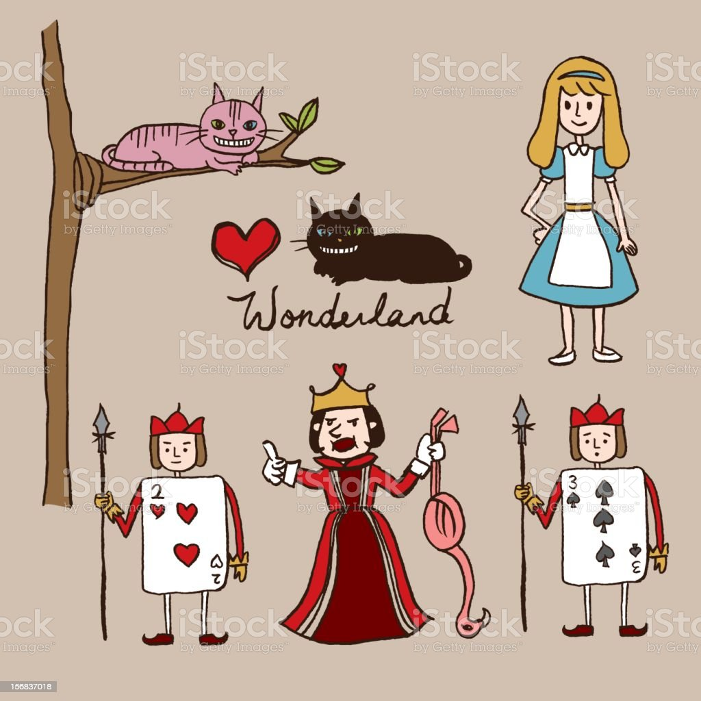hand sketch alice in wonderland characters stock vector art
