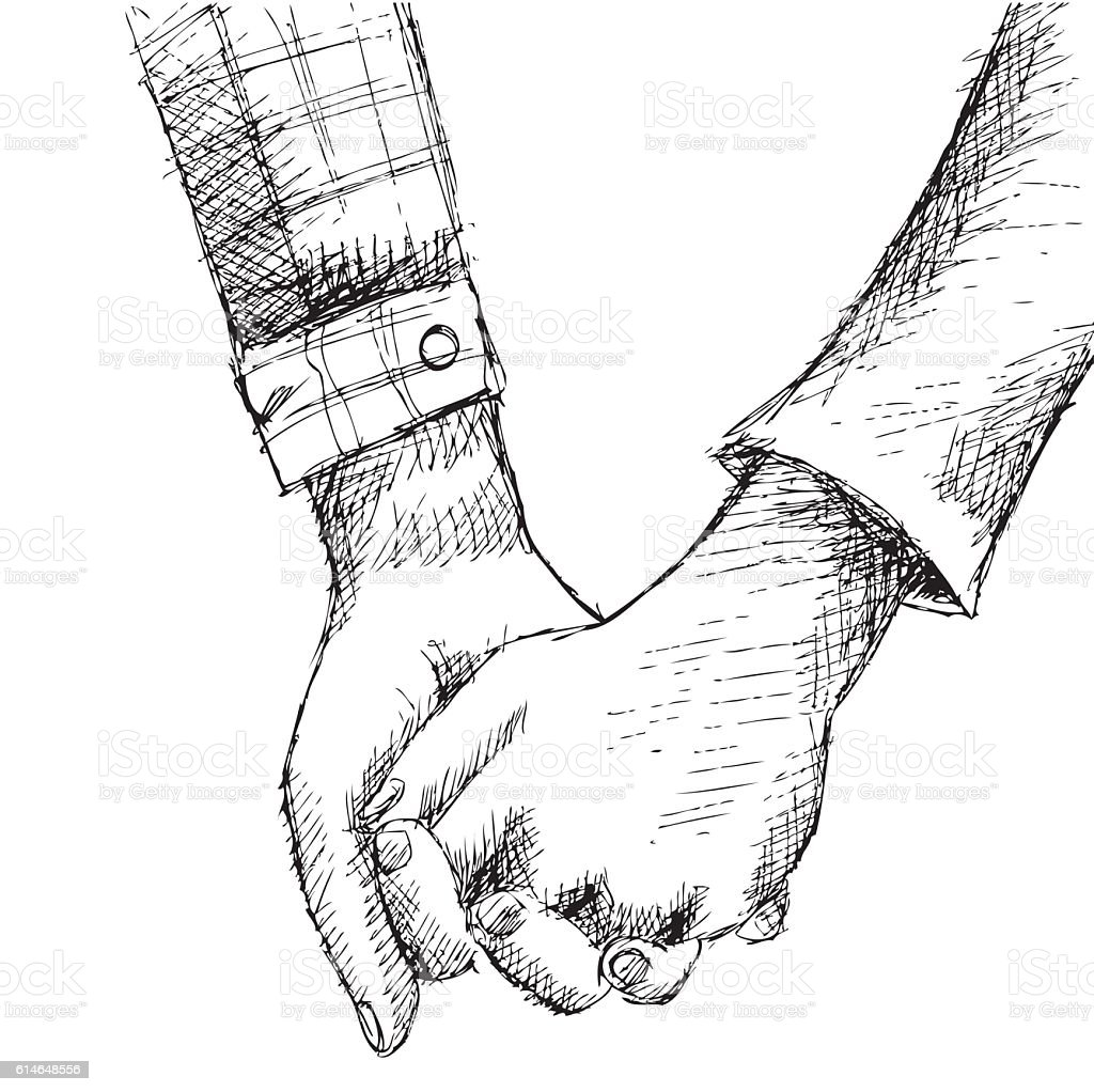 Hand sketch holding hands royalty free hand sketch holding hands stock vector art