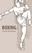 Hand sketch of a boxing man. Vector sport illustration. Graphic silhouette of the athlete on background