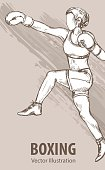 Hand sketch of a boxing women. Vector sport illustration. Graphic silhouette of the athlete on background