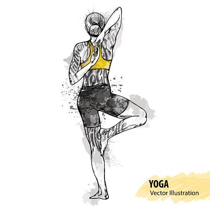 Hand sketch of a girl doing yoga. Vector sport illustration