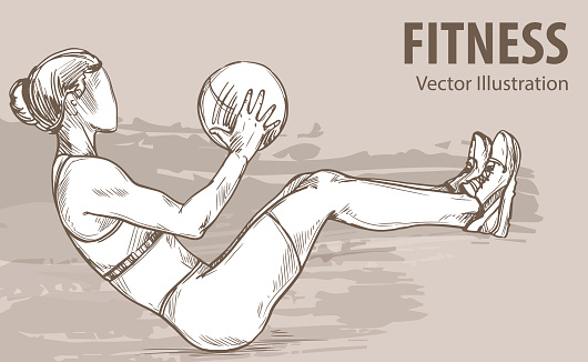 Hand sketch of a girl is training with a ball. Vector sport illustration. Graphic silhouette of the athlete on background
