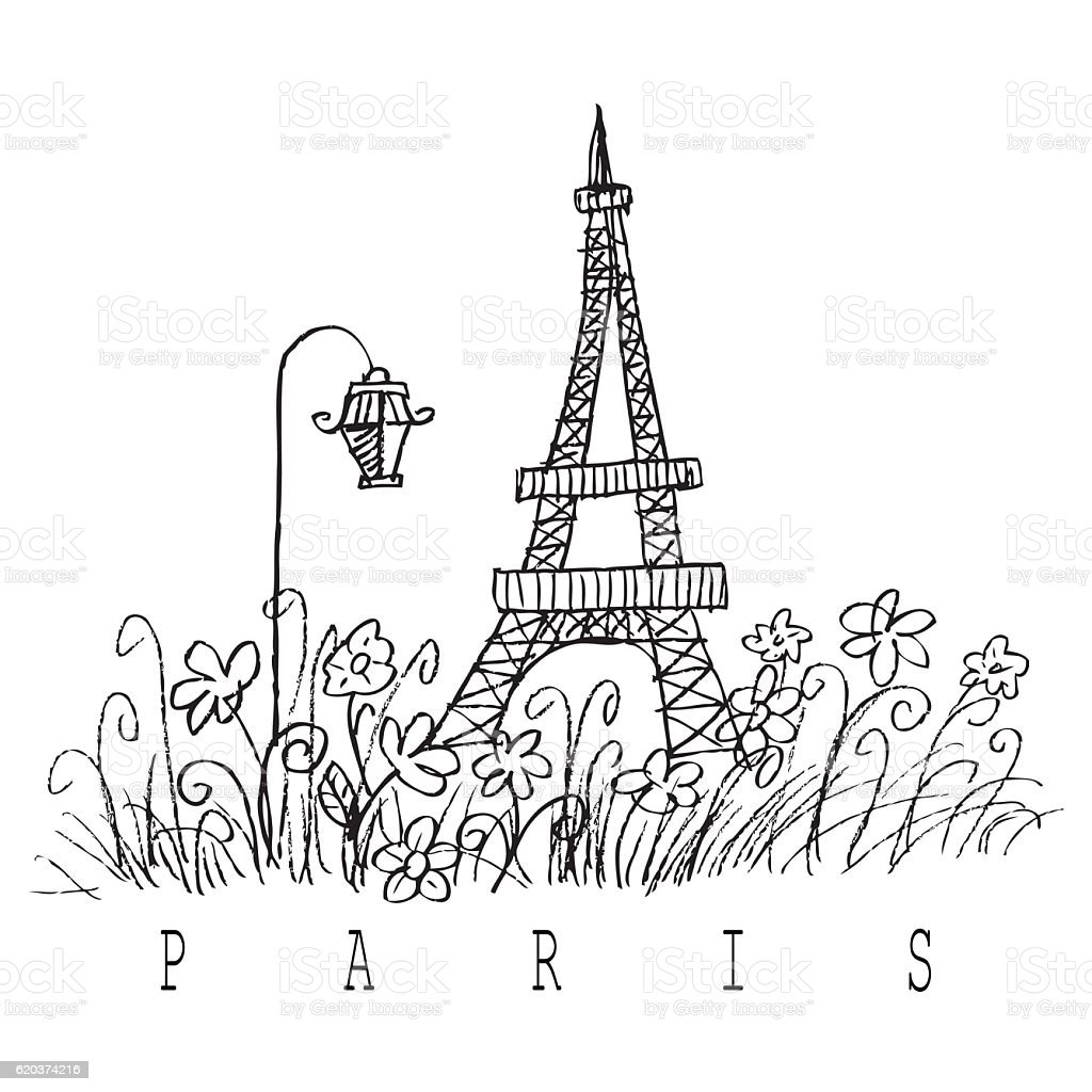 Hand sketch of the Eiffel Tower. Hand drawing illustration hand sketch of the eiffel tower hand drawing illustration - stockowe grafiki wektorowe i więcej obrazów architektura royalty-free