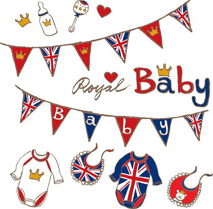hand sketch royal british baby toy cloths