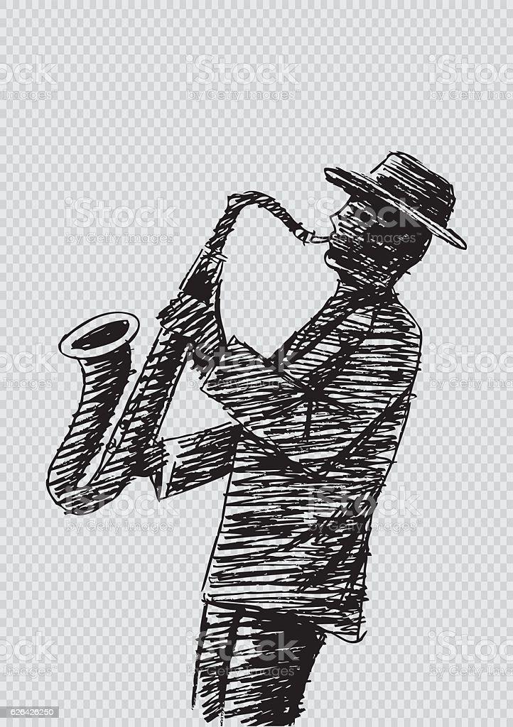 Hand sketch saxophonist vector art illustration