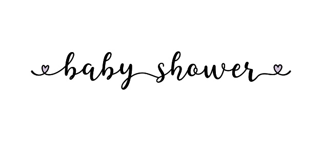 Hand sketched BABY SHOWER quote as logo. Lettering for web ad banner, flyer, header, advertisement, poster, label,sticker,announcement