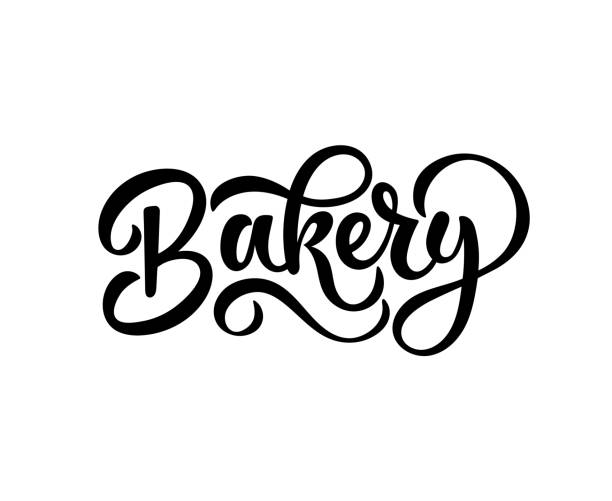 Hand sketched Bakery lettering typography isolated on white background. Concept for bakery, market, bakehouse, bakery production. Calligraphy badge, icon, logo, banner, vector art illustration