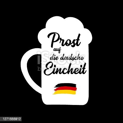"istock Hand sketched Beer Mug with "" Prost auf die deutsche Eincheit"" quote in German, translated "" Cheers for the German Unity day"". 3th October Lettering 1271555912"