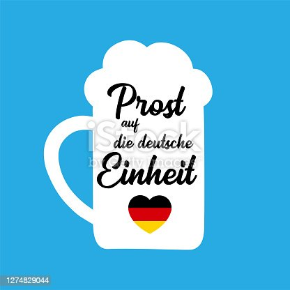 """istock Hand sketched Beer Mug with """" Prost auf die deutsche Einheit"""" quote in German, translated """" Cheers for the German Unity day"""". 3th October Lettering 1274829044"""